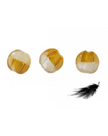 Lentille bombée 20mm feuille d'argent et Miel x 1