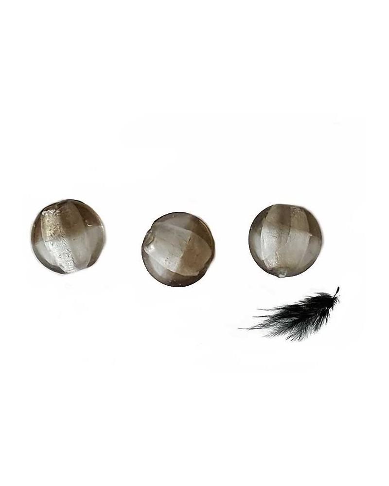 Lentille bombée 20mm Gris et Feuille d'Argent X 1