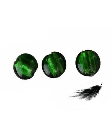 Lentille bombée feuille d'argent 15mm Vert bouteille X 1