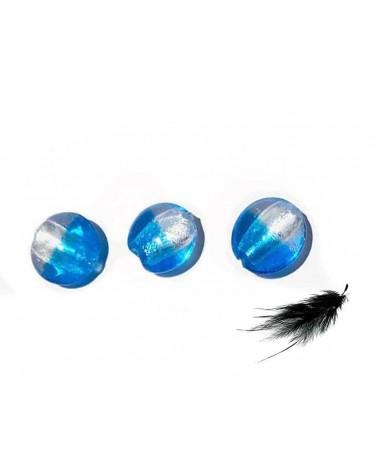 Lentille 20mm feuille d'argent et bleu x 1