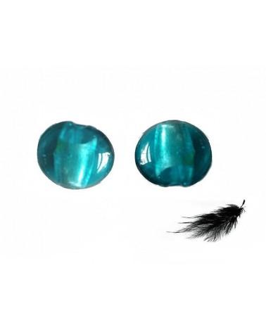 Lentille feuille d'argent 15mm Turquoise vert X 1