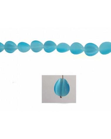 Larme oeil de chat 10x8mm Turquoise X 5