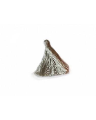 Pompon 25-29mm aspect coton Gris clair x1