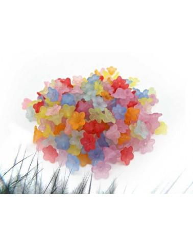 Fleurs lucite 10 x 5mm mélangées x 20