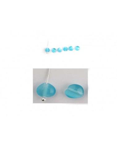 Coeur oeil de chat 6mm Turquoise X 5