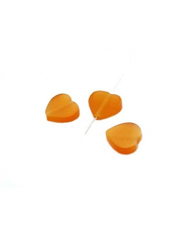Coeur oeil de chat 8mm orange X 5