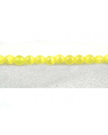 Ronde Oeil de chat 4mm Jaune X 20