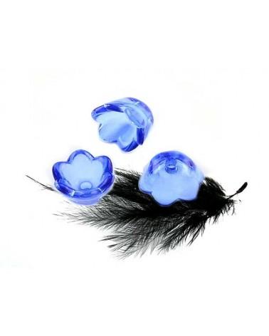 Clochette fleur acrylique10x6mm Bleu cristal X 10
