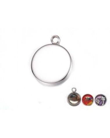 Breloque médaillon acier inox pour cabochon 20mm X1