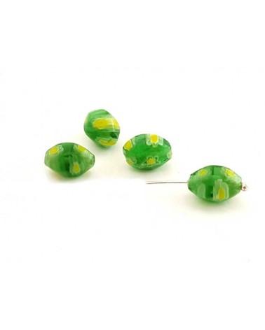 Ovale Millefiori 9x6 mm vert X 5