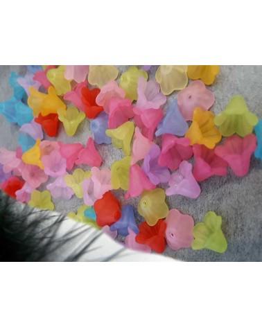 Fleur lucite 14x10mm mix dépoli X 20