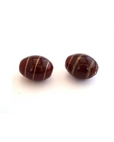 Olive 15x11mm verre indien Bordeaux X1