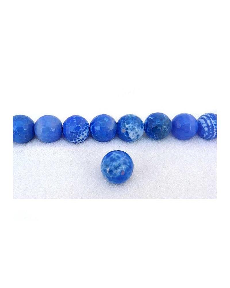 Agate craquelée bleu 18mm facettée