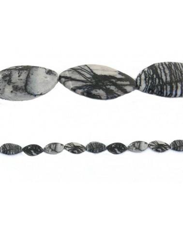 Jaspe zebre ovale 25x40mm noir et blanc x 1