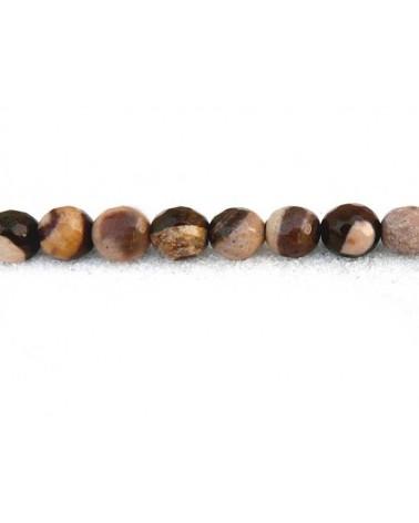 Jaspe zebre facetté 6mm brun beige par 15