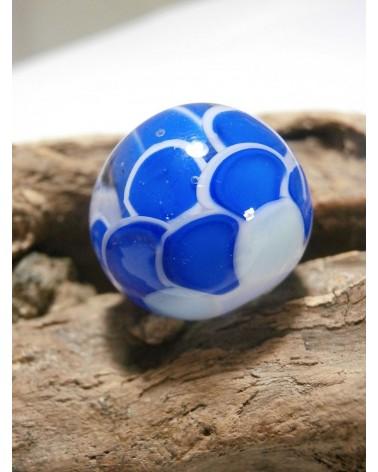 Céline Wojcik Perle écaille Bleu marine, Bleu pastel, enrobage transparent 20 x 19mm par 1