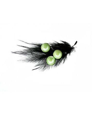 Perle ronde céramique nacrée 10mm vert prairie par 5