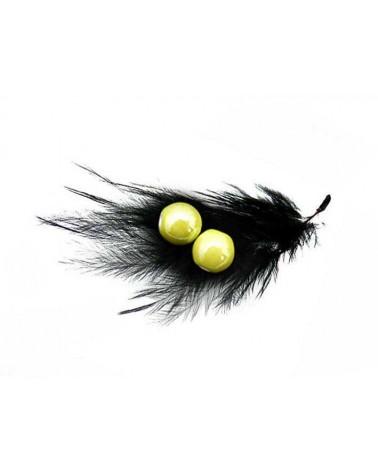 Perle ronde céramique nacrée 10mm jaune-anis par 5