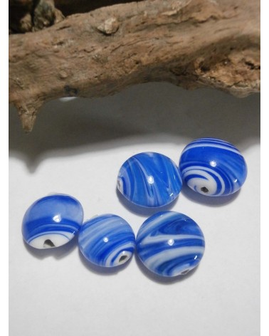 Céline Wojcik Ensemble de 5 Perles Plate Blanc et Bleu- marine