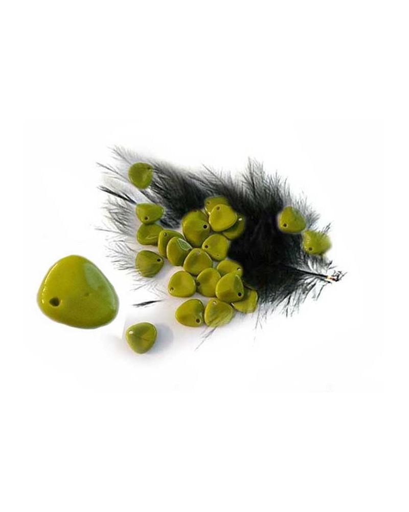 Pétale en verre 7x8mm Vert olive light