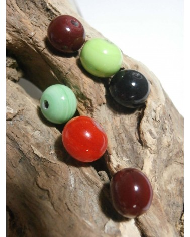 Céline Wojcik Lot de 6 perles Rouge-Vert-Orange-Noir