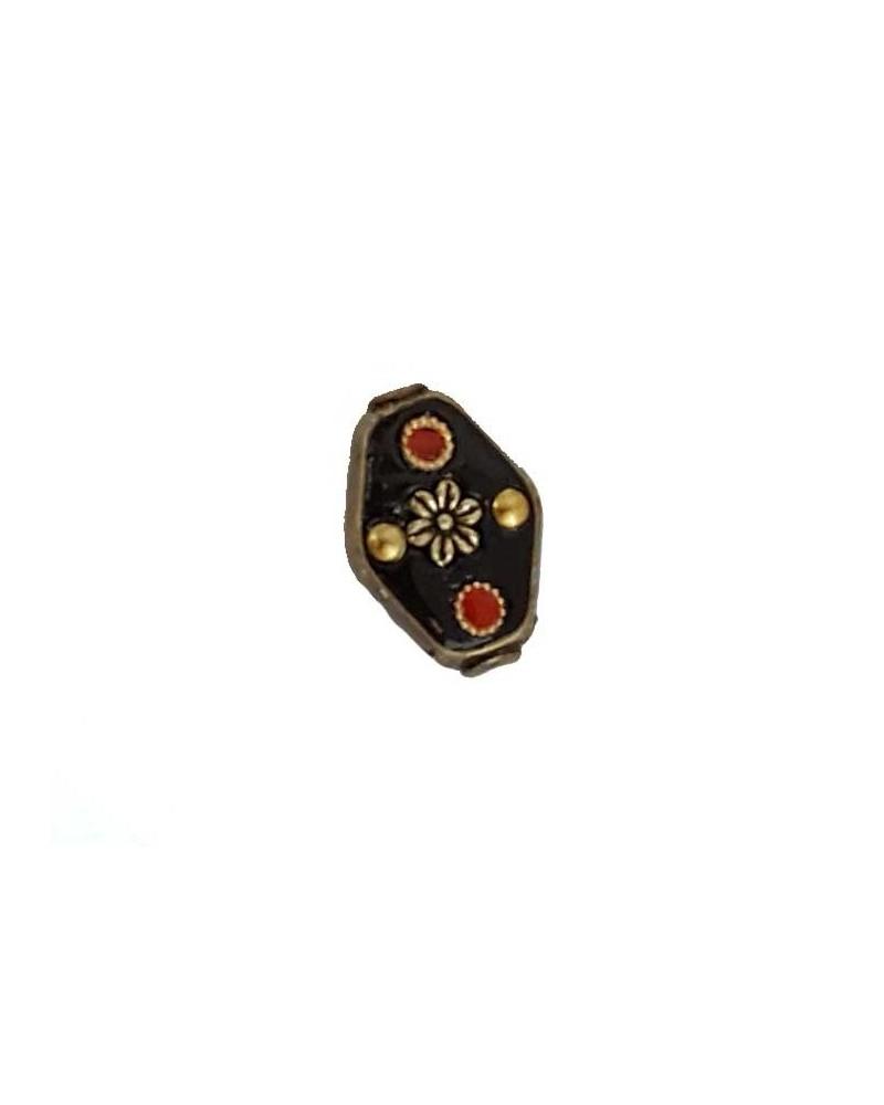 Losange 20x15mm indonésie noir pois rouge X1