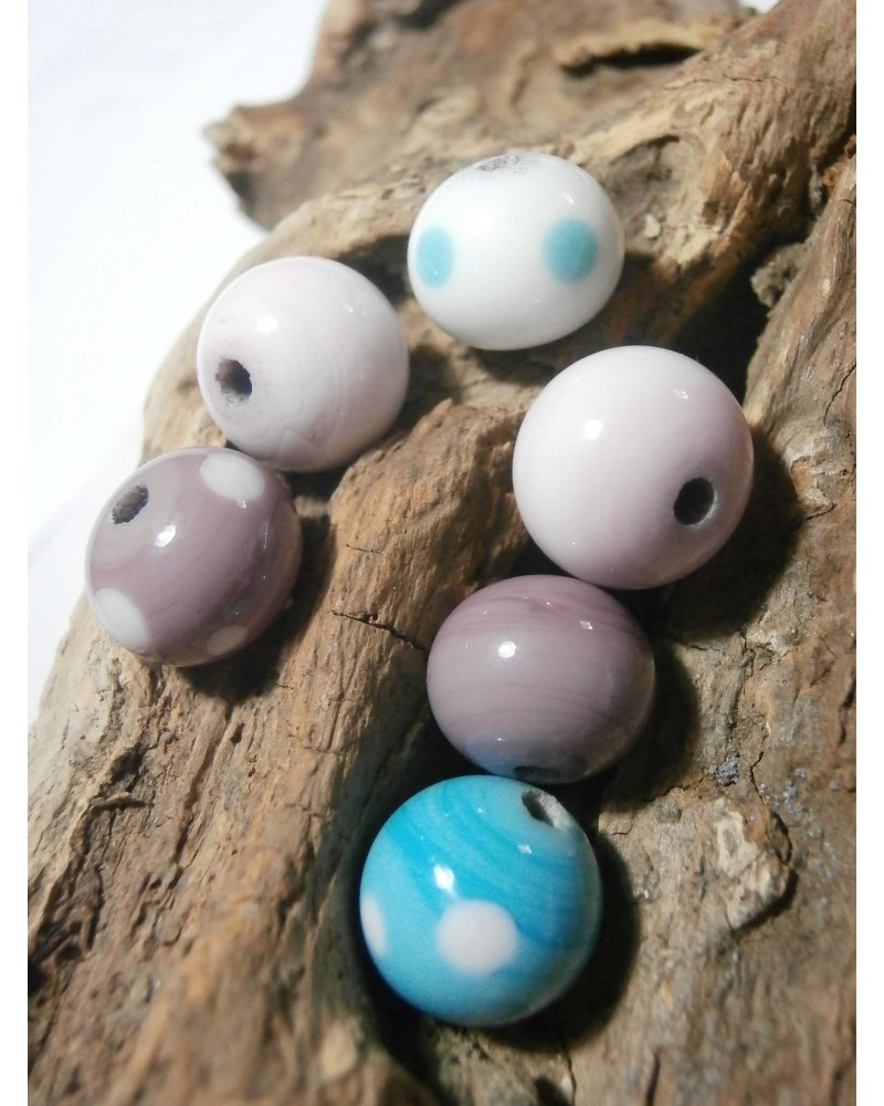 Céline Wojcik   Lot de 6 perles -violet-bleu-blanc