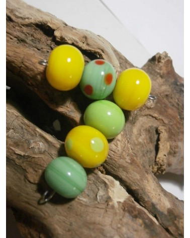 Céline Wojcik   Lot de 6 perles  Jaune et Vert