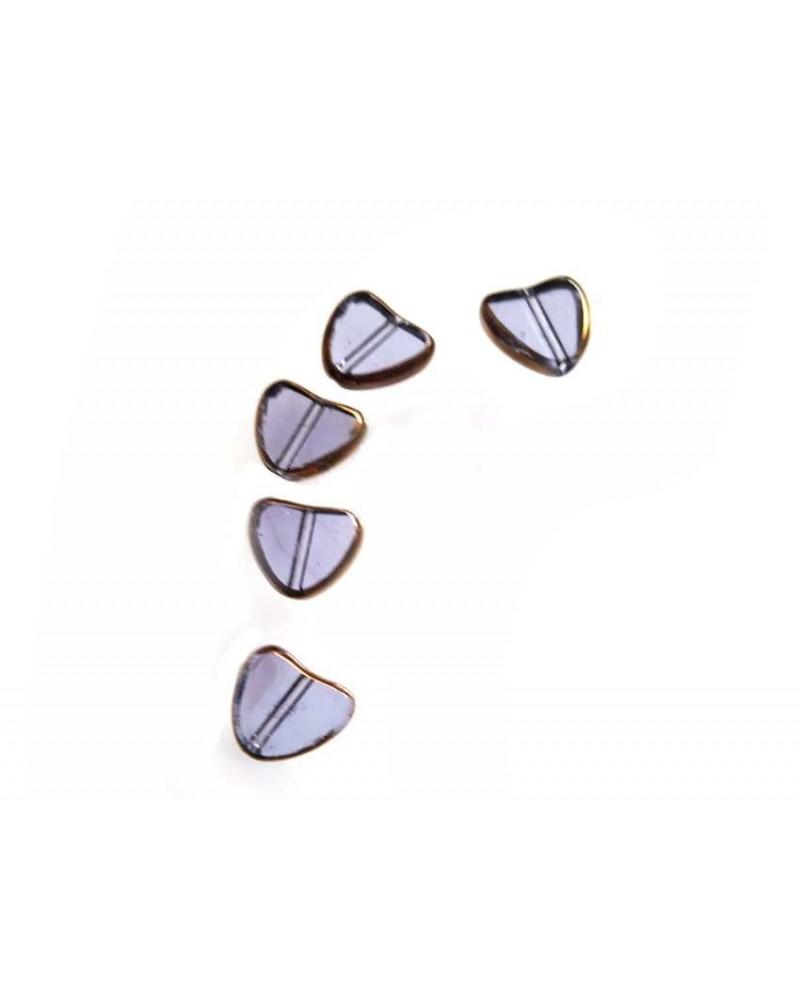 Coeur vitrail 9mm bleu lavande X1