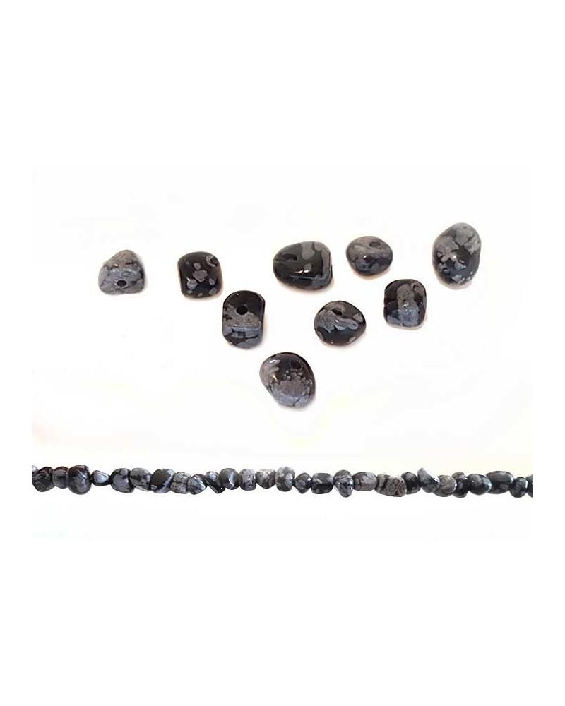 Obsidienne Flocon de neige pépites 5mm x 10cm