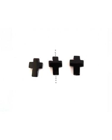Croix Agate 16x12mm Noir x1