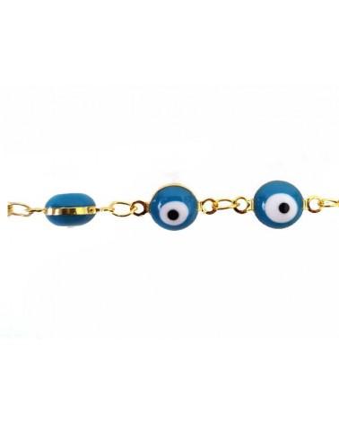 Intercalaire oeil porte bonheur 12x6mm Bleu X1