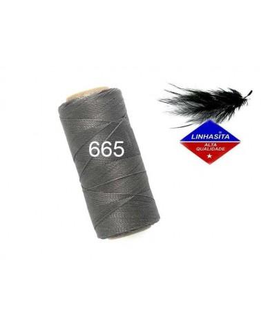 Fil ciré 0.5MM Linhasita Dark Grey (665) X 5M