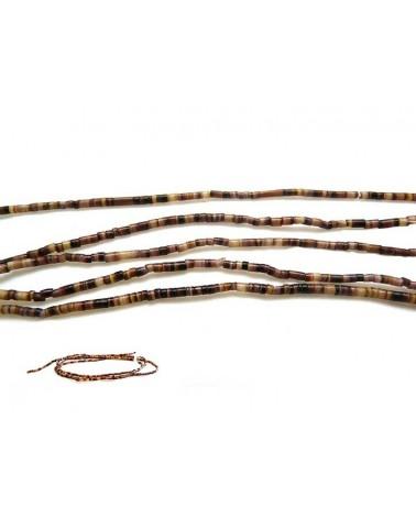 Fil de tubes 2-3 x 2mm coquillage naturel brown x 60cm