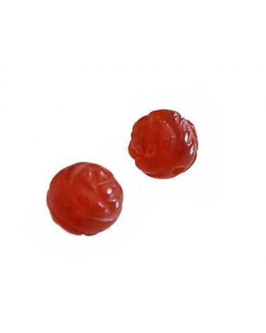 Agate 10 mm gravée fleur rouge X1