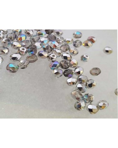 Facettes de Bohême 4mm crystal silver rainbow x 50