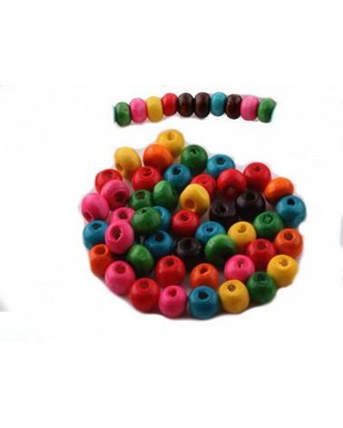 100 Perles en bois 6x4mm couleurs mélangées