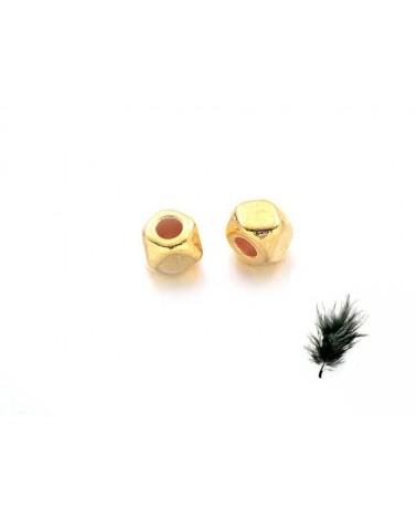 Carré facetté 3x2.5mm doré X10