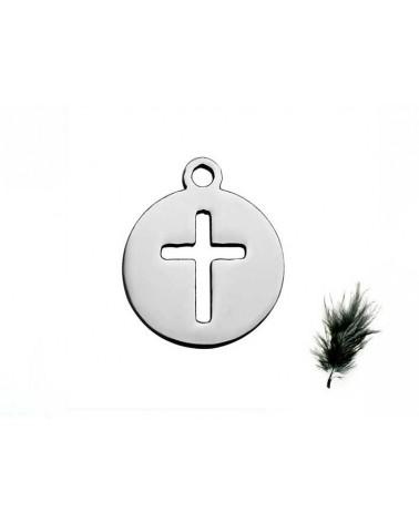 Breloque Croix sur Médaillon 12mm inox X1