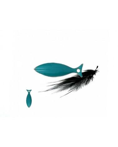 Sequin poisson métal émaillé 15MM bleu turquoise x1