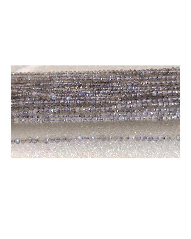Labradorite naturelle 2mm facettée X 25 ou rang