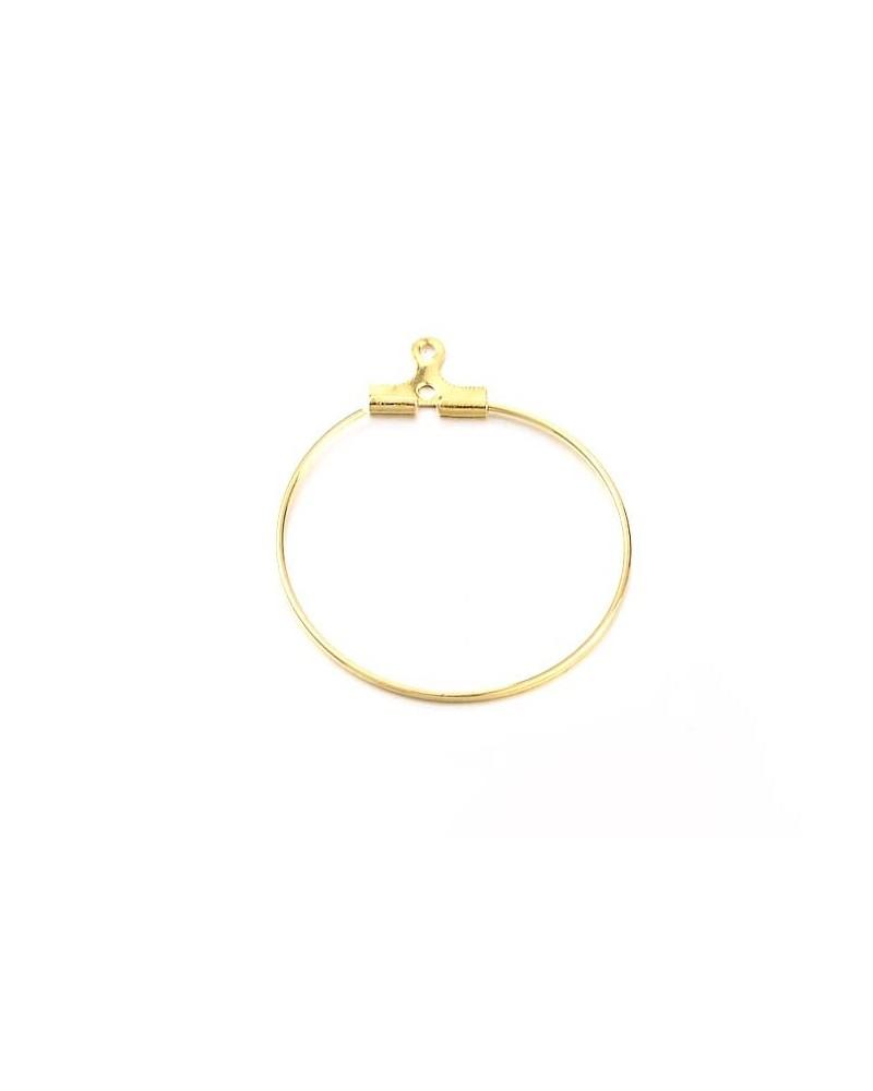 Support Boucles d'oreilles créoles 1 anneau 28mm doré X 2