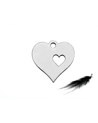 Breloque coeur évidé 12.5mm inox X1