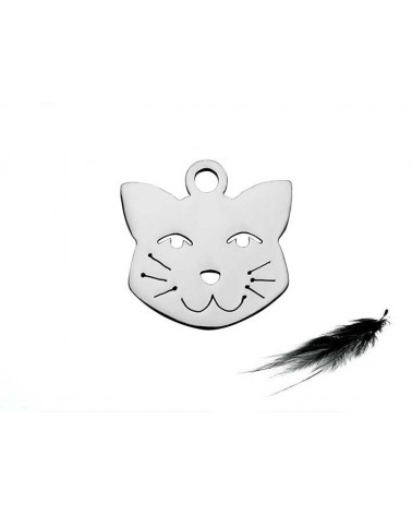Breloque tête de chat 12mm inox X1