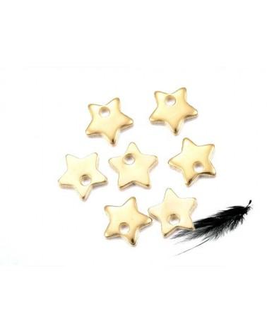 Breloque étoile 6mm inox doré X1