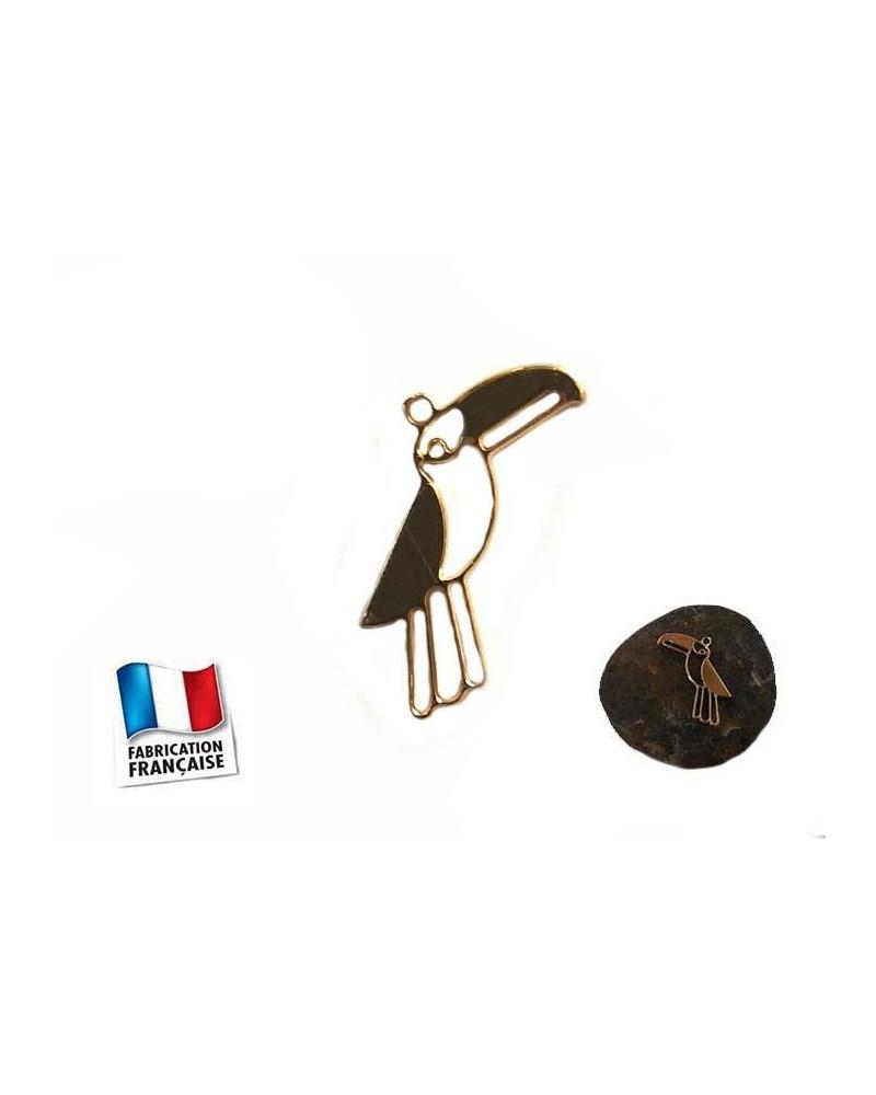 Breloque Oiseau Toucan 8x15mm doré x1