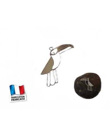 Breloque Oiseau Toucan 8x15mm argenté x1