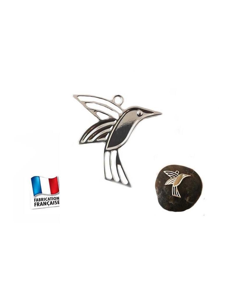 Breloque Oiseau colibri 11X14mm argenté x1