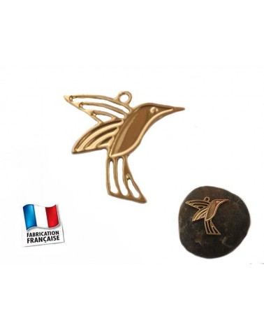 Breloque Oiseau colibri 11X14mm Doré x1