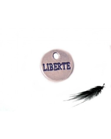 Breloque Liberté 9mm argenté X1